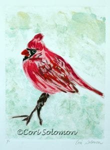 Cardinal in a tree branch by Cori Solomon