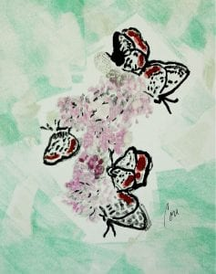 Butterfly and flower art by Cori Solomon