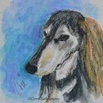 Grizzle Saluki Watercolor by Cori Solomon