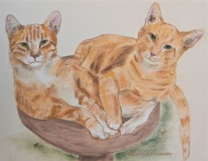 Jack and Bailey Tabby Cat Art By Cori Solomon