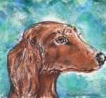 Dachshund Dog Monotype and Pastels
