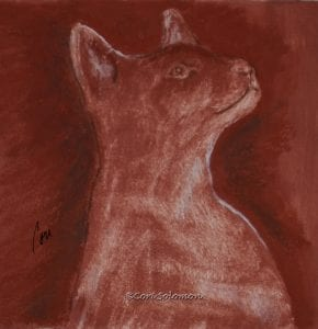 Siamese Cat in Reds hues: Monotypes