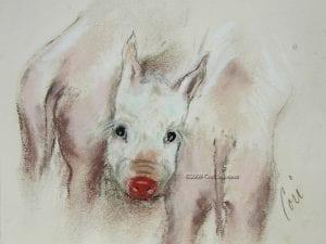 Three Pigs, drawing by Cori Solomon