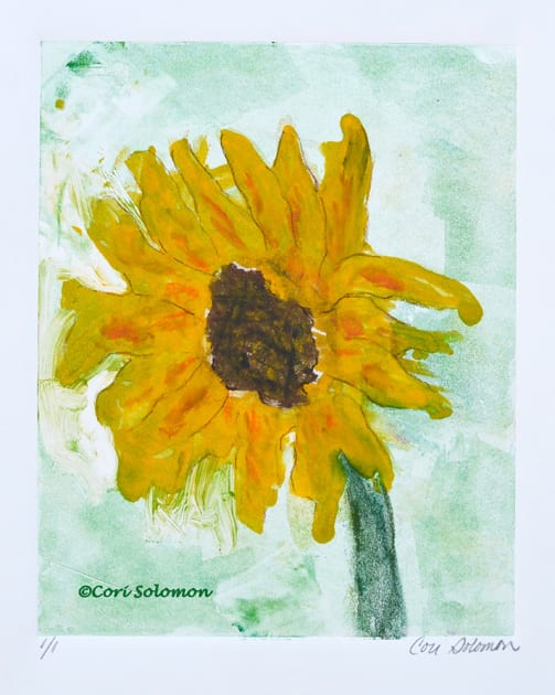 Sunflowers Hand Pulled Print by Cori Solomon