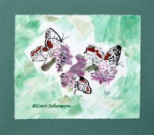 Butterflies and Flowers Art Monotype by Cori Solomon